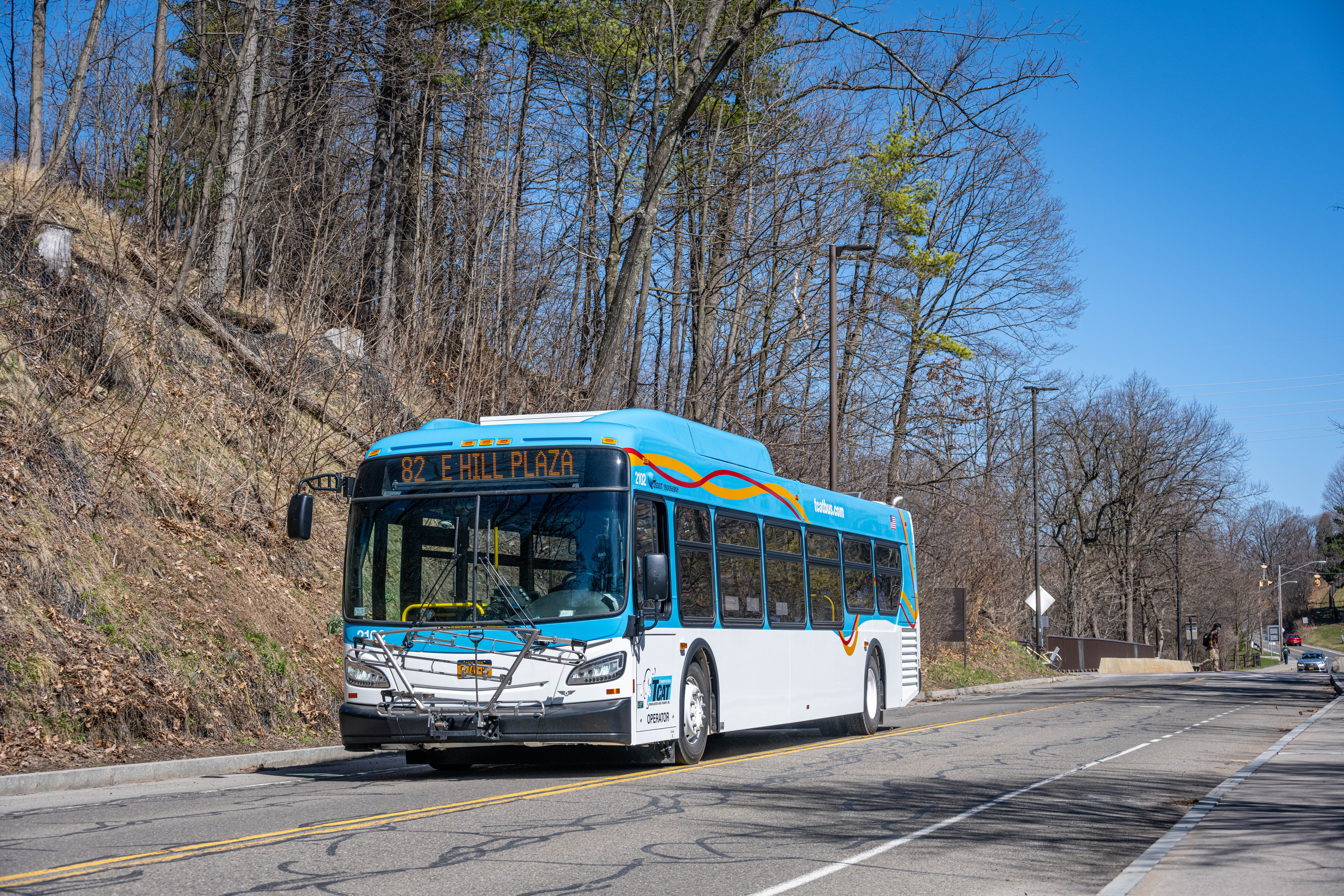 Photo of Route 43 express new bus on campus