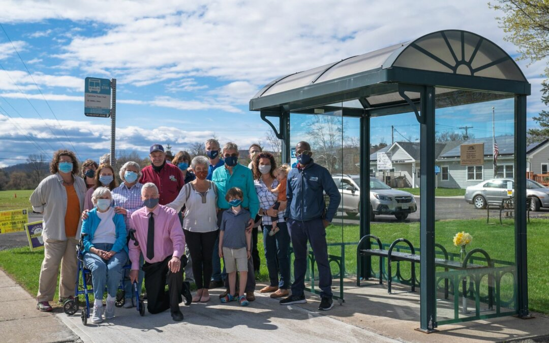 """Family of the late and beloved """"TCAT Dave"""" dedicate a bus shelter in his memory"""